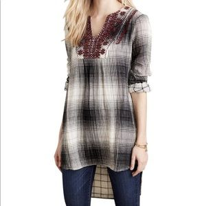 Anthropologie Floreat Plaid Embroidered Tunic